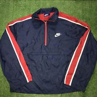 Vintage Nike Swoosh Blue Red White Colorblock Packable 80s Windbreaker Jacket L