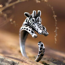 Fashion Jewelry Adjustable Antique Sliver Planted Giraffe Ring Animal Rings