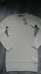 NICE NEW STRETCHY IVORY LADIES WOMENS LONG JUMPER DRESS TUNIC SIZE 8 10 S M