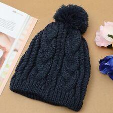Fashion Women Men Winter Warm Knit Ski Cap Crochet Beanie Ball Wool Cuff Hat New
