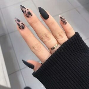 24 Pcs Almond Matte Black Leopard Artificial Nail Tips French False Fingernails
