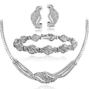 3/4 Ct Diamond Twist Necklace, Bracelet, Earrings Set