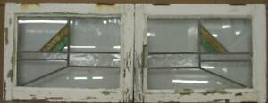 """PAIR OF OLD ENGLISH STAINED GLASS WINDOWS Simple Stripes 20.25"""" x 15.25"""" each"""