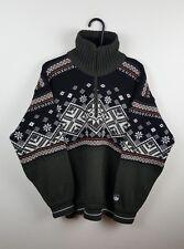 Da Uomo Vintage Aztec con lavorazione a trama grossa Norvegese spesse oversize Felpa Maglione in buonissima condizione L/XL