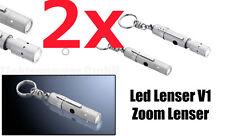 2x Led Lenser V1 Zoom Lenser 7677 Taschenlampe mit Schlüsselanhänger/Lampe