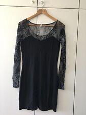 Ladies Black Bodycon Firetrap Dress with Sheer Sleeves Medium 12