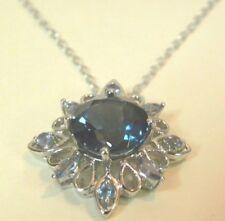 "925 Sterling Aquamarine Blue Semi Precious Stone Pendant 3/4"" Necklace 18"""