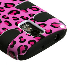 For Samsung Galaxy S II 2 T989 Rubber Hybrid FISHBONE Silicone Case Pink Leopard