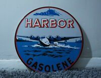 VINTAGE HARBOR GASOLINE PORCELAIN METAL SIGN GAS MOTOR OIL STATION AD PUMP PLATE