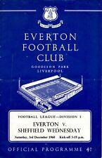 Everton v Sheffield Wednesday programme, Division 1, December 1960