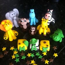 Edible Jungle Animals Zoo And Name Birthday Blocks Cake Topper Icing Decoration