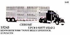 NEW RAY 1:43 TRAILER KENWORTH W900 LIVE STOCK CHROME Diecast Truck 15243