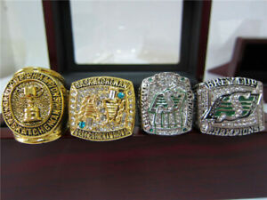4PCS Saskatchewan Roughriders The Grey Cup team Ring Set With Wooden Box