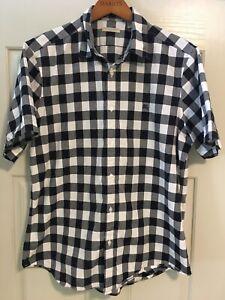 ☀️ BURBERRY BRIT Black white check•button down•SS•Prorsum•Men's X-LARGE•shirt•☀️