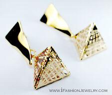 3D Gold Tone Triangle Pyramid Rivet Drop Dangle EARRINGS Metal Fashion Jewelry