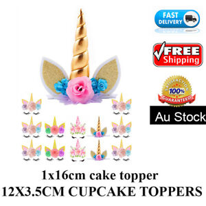 🏅 13 PCS Unicorn Cake Cupcake TOPPER EDIBLE WAFER BIRTHDAY Party Baby Gifts Kid