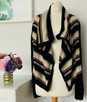 KAREN MILLEN Cardigan Size 10/12 BLACK BROWN | Striped Wool Waterfall WORK