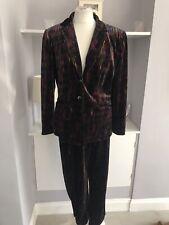 Ladies Velvet Multicolour Glitter Trouser Suit Size 14 Festival Hippie Retro
