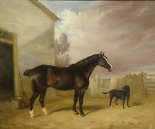 Fine Large 19th Century Horse & Dog Stable Scene Antique Oil Painting Harry HALL