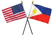 """USA American & Philippines  Flags 4""""x6"""" Desk Set Table Gold Base"""