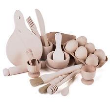 UTENSILI da cucina in legno per bambini Set da tè giocattolo gioco Cesto di tesori Montessori