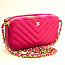 m69 CHANEL Authentic Hot Pink Wallet On Chain WOC Double Zip Chain Shoulder Bag
