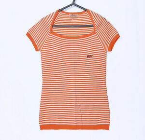 NEW! Guess Jeans USA knitted top T-shirt Retro Orange stripes M Vintage quality