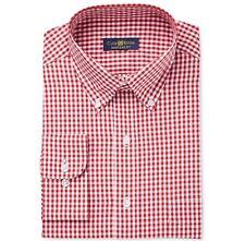 $95 Club Room Men Regular-Fit Red White Check Long-Sleeve Dress Shirt 15 32/33 M