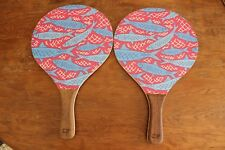 Vineyard Vines Fish Design Wood Beach Paddle Ball Set Pair of Beach Paddles