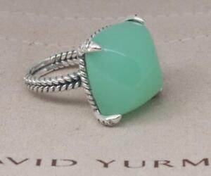 David Yurman Sterling Silver 20mm Chatelaine Ring Chalcedony & Diamonds size 6.5