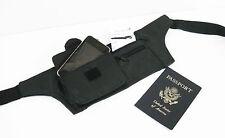 Black Solid Leather Slim Hidden Fanny Pack Money belt Waist Bag Travel Men Women