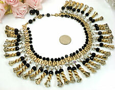 Vintage Costume VENDOME Bookchain Crystal Drop Collar Necklace EARRINGS Set