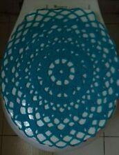 Handmade Crochet Toilet Lid/Seat Cover Blue #3