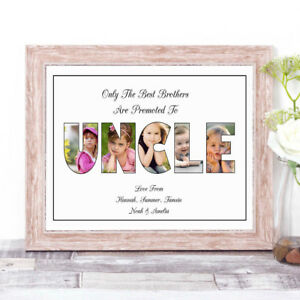 Personalised UNCLE Photo Collage Word Art Print Gift for Father's Day Birthday