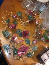 Vintage Handmade Bent Metal Wire Heart Shaped Wreath w/ Roses & Butterflies