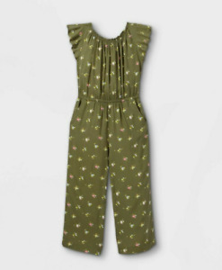 NWT Cat & Jack Girls' Large Woven Short Sleeve Jumpsuit Floral Olive Green