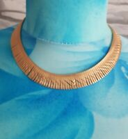 VINTAGE 70s Goldtone Collar  Necklace Flat diamond cut Retro Cleopatra Deco vtg