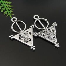 40PCS Antique Silver Alloy Triangle Shape Charms Pendant Jewelry 33*21*2mm