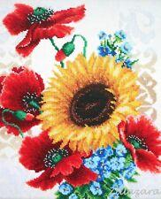 Blume Mohn Stickpackung Stickbild Stickset Bild sticken mit Perlen 409