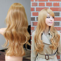 Women Anime Golden Fashion Long Blonde Curly lady's Cosplay Party Costume Hair