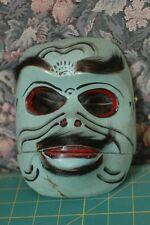 American Northwest Coast Style Mask Horse Hair Hand Carved Wood alaska