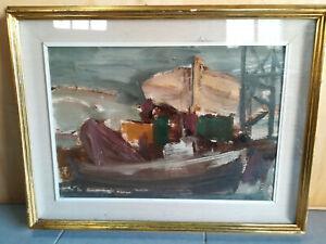 ALVARO DANTI Livorno marina barche olio su tavola 35x50