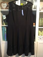 """K59 Evans Plus Sz 26 Black Sequin Lace Panelled 40""""Long Dress NWT £50 Xmas Party"""