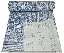 Indian Kantha Quilt Throw Blue Bedspread Double Size Hand Block Print Cotton
