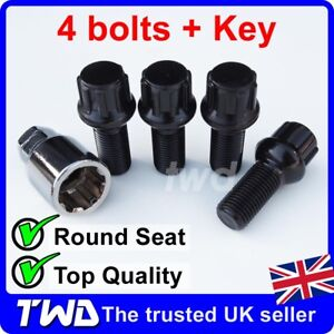 BLACK ALLOY WHEEL LOCKING BOLTS FOR VW (M14x1.5) RADIUS SECURITY LUG NUTS [Sb]