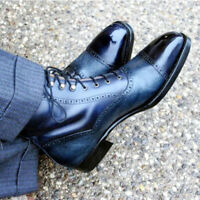 Stylish Men's Handmade Blue Ankle High Rounded Cap Toe Leather Lace up Boots