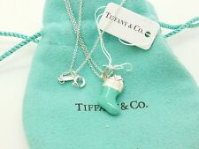 New Tiffany & Co. Sterling Silver Blue Enamel Stocking Charm Pendant 16'in Chain