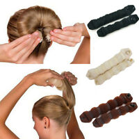 2 Pcs Black Large & Small Casual Hair Elegant Magic Style Hot Buns Doughnut Bun