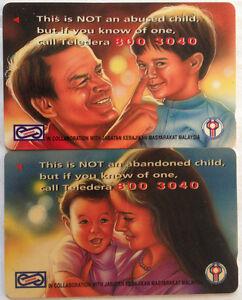 Malaysia Used Uniphone Phone Card : 2 pcs Abused & Abandoned Child