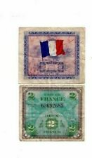 Wwii Military Mpc money for France 2 Francs Ww2 1944 Genuine Vintage Amc